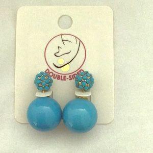 Blue double sided earrings